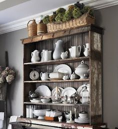 common ground : Vintage Inspiration #86 Serendipity Shabby, China Hutch Decor, Dining Room Hutch, Decoration Bedroom, White Dishes, White Pitchers, Interior Decorating, Interior Design, Hutch Decorating