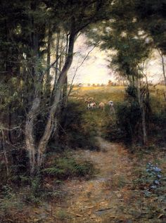 Ti-Tree Glade 1897 Frederick McCubbin  (25 February 1855 – 20 December 1917) was an Australian painter who was prominent in the Heidelberg School, one of the more important periods in Australia's visual arts history.)