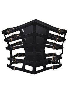 Strappy web corset, fleet ilya. If it was made out of sewn together scraps it would be a perfect post apocalypse thing.