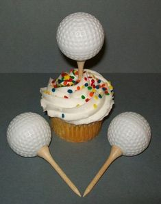 12 Golf Ball Cupcake Toppers Cake