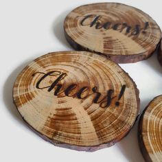 Cheers! Wooden Coasters - Natural Wood Slices, Wood Burning, Set of 4 Coasters, Pyrography art, Typography, Drink Coasters, Wood Slice, OOAK