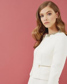 Embellished cropped jacket - Cream | Tailoring | Ted Baker UK