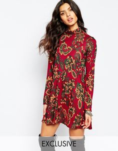 Reclaimed+Vintage+High+Neck+Mini+Dress+In+Paisley+Floral+Print