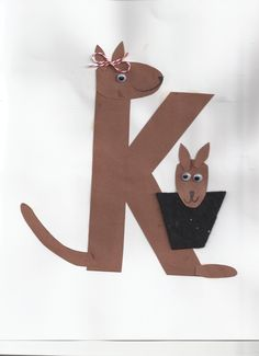 k is for kangaroo, alphabet craft Wee Wee Hamilton Preschool Letter Crafts, Alphabet Letter Crafts, Abc Crafts, Daycare Crafts, Alphabet Activities, Preschool Activities, Kindergarten Crafts, Letter Art, Zoo Phonics