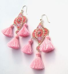 Rose Agate Stone Earrings Premium Beaded Jewelry Long Pink Gemstone Chandelier Trendy Tassel Beadwork Bridesmaid Accessories Earrings by QJBoutique on Etsy