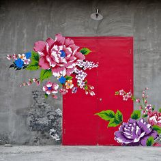 Flower painting on the door/wall of a shop in the Beijing 798 Art District. A similar purple flower appears higher up on the right-hand-side door when it is open. Terry L._DSC1115_2 | Flickr - Photo Sharing!