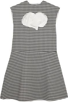 A.W.A.K.E. - Jellychess Fluted Gingham Woven Top - Black - FR34