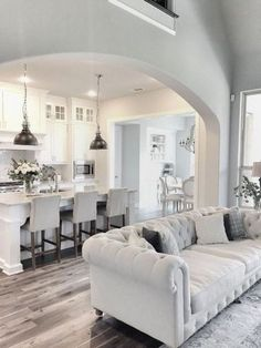 4 Blessed Tips: Interior Painting Colors Grey living room paintings decor.Living Room Paintings Turquoise home interior painting. Living Room Kitchen, Living Room Decor, Kitchen Dining, Kitchen Cabinets, White Cabinets, Open Floor Plan Living Room And Dining, Upper Cabinets, Kitchen Chairs, Kitchen Open Concept
