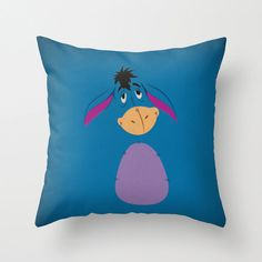 "Winnie the Pooh Minimalist Cushion Pillow Cover ""Eeyore"" Retro Style Nursery Art Birthday Decal Baby Shower Invitation Quote"