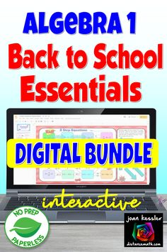 This bundle of 12 digital activities for the first weeks back to school will engage your Algebra 1 students and let you know where they might be weak. Paperless and No  PREP for you.  #algebra #distancelearningtpt Algebra 1, Calculus, College Math, We Are Teachers, Algebra Activities, Back To School Essentials, Secondary Math, Blended Learning, Going Back To School