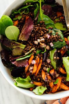 Masala Lentil Salad with Cumin Roasted Carrots: This striking salad combines tender roasted carrots, protein-rich lentils and fresh greens and mint with a garam masala-infused vinaigrette. This delicious, healthy vegan salad will fill you up! Lentil Recipes, Salad Recipes, Vegetarian Recipes, Cooking Recipes, Vegan Dinners, French Green Lentils, Toasted Pumpkin Seeds, Vegan Cookbook, Recipes