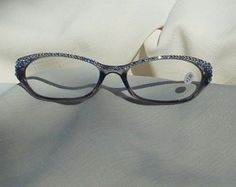 Swarovski Crystal Reading Glasses, Beauty in 3.00 Strength, Grey Frames with Light Sapphire and Clear Crystals, by jamaartbeads. Explore more products on http://jamaartbeads.etsy.com