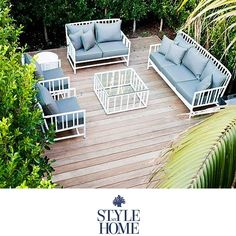 Hamptons Style Beach Style Outdoor Furniture Lounge from Style My Home Australia Outdoor Life, Outdoor Spaces, Outdoor Gardens, Outdoor Living, Outdoor Decor, Outdoor Ideas, White Patio Furniture, Garden Furniture, Outdoor Furniture Sets