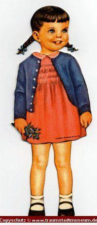 PAT Puppenkind mit Zöpfen Anziehpuppe Papierpuppe ausgestanzt Reprint von 1920 Paperdoll
