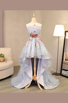 Sky Blue Tulle Strapless High Low Flower Appliques Homecoming Dress, Party Dress on Luulla High Low Prom Dresses, Cute Prom Dresses, Backless Prom Dresses, Tulle Prom Dress, Ball Dresses, Pretty Dresses, Homecoming Dresses, Beautiful Dresses, Evening Dresses