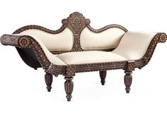 One Kings Lane - Jalan Jalan Collection, Inc. - Bone Inlay Upholstered Settee