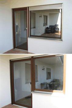alte kunststofffenster und neue holz-aluminium-fenster, Moderne