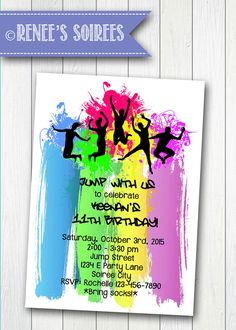 DANCE or TRAMPOLINE Party Invitation  Printable by ReneesSoirees Kids Birthday Party Invitations, 10th Birthday Parties, Diy Birthday, 17th Birthday, Birthday Board, Kids Party Venues, Party Ideas, Bounce House Parties, House Party