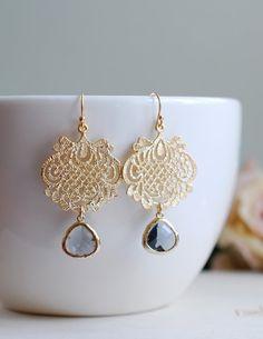 Gold Plated Black Diamond Grey Glass Gold Filigree Chandelier Earrings, Dangle Earrings, Ethnic Style, Boho Chic, Grey Wedding Jewelry By LeChaim