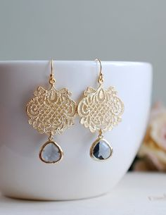 Gold Plated Black Diamond Grey Glass Gold Filigree Chandelier Earrings, Dangle Earrings, Ethnic Style, Boho Chic, Grey Wedding Jewelry By LeChaim