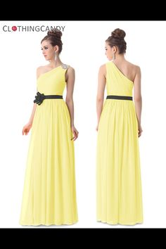 One Shoulder Yellow Wedding Dress Shop online for maxi gowns, cocktail dresses at: http://clothingcandy.com/prom-special-occasion.html