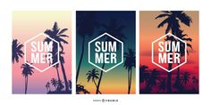 "Beautiful set featuring three illustrations of sunsets in different colors with palm trees and ""Summer"" caption inside a white hexagon. Powerpoint Free, Creative Powerpoint, Mo Design, Layout Design, Summer Captions, Summer Sunset, Poster Ideas, Layout Template, Graphic Design Posters"