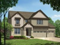 Monterey Elevation B with 3-Car Garage. House exterior. Beautiful siding with dark brown framework. Two car garage and open stone pillars.
