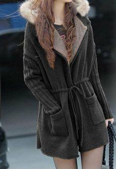 European Style Fleece Lining Sash Hood Warm Coat