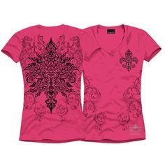 "Rhinestones, studs & print!! Hot Pink S/S TRIBAL FLEUR DE LIS Shirt $28.00 + FREE shipping when you enter the coupon code ""PINTEREST"" during checkout online. #fleurdelis #LSU #LA #madeinusa #fashion"