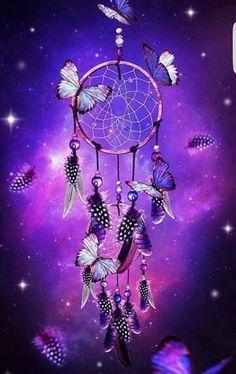 Dream Catcher with butterflies purple fantasy art print wall decor Dreamcatcher Wallpaper, Purple Dream Catcher, Dream Catcher Art, Purple Love, All Things Purple, Purple Baby, Galaxy Wallpaper, Wallpaper Backgrounds, Dream Catcher Wallpaper Iphone