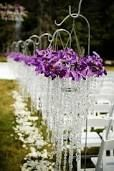 I like the idea of a hanging basket down the isle runner with pretty dangles. Wedding Aisle Decorations, Purple Orchids, Hanging Baskets, Event Decor, Spiral, Mason Jars, Ceiling Lights, Diamond, Pretty