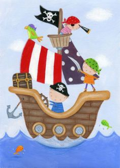 Pirate Boy, Pirate Theme, Pirate Party, Boat Crafts, Vbs Crafts, Animal Plates, Pirate Activities, Sea Nursery, Nautical Prints