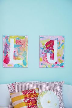 With a little help from mama, children can create these delightful monogramed canvases.  Source: Homemade Ginger
