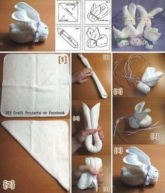 How to make a towel Bunny . decoration rocher How to make a . - How to make a towel bunny … decoration rocher How to make a towel Bunny … – - Baby Crafts, Easter Crafts, Holiday Crafts, Crafts For Kids, Diy Diaper Cake, Nappy Cakes, Boo Boo Bunny, Bunny Bunny, Easter Bunny
