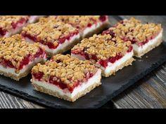 Raspberry Yogurt Bars - YouTube Kinds Of Desserts, Summer Desserts, Christmas Desserts, Easy Desserts, Dessert Recipes, Desserts With Yogurt, Cereal Recipes, Baking Recipes, Egg Recipes