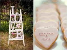 decoração de casamento rosa escada rústica e biscoitos de coração