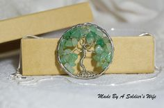 Large Green Aventurine Tree-Of-Life Silver colored Pendant