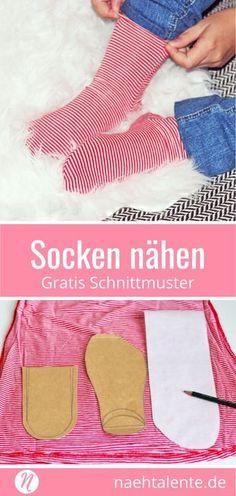Socken selber nähen mit einer einfachen Anleitung. Nähe Socken für die ganze Familie, die Nähanleitung ist für jede Größe geeigent. Man braucht nur die Umrisse der Füsse nachzeichnen und hat ruck zuck ein eigenes Schnittmuster für die Socken. Für Anfänger geeignet ✂️ Nähtalente - Magazin für kostenlose Schnittmuster ✂️ #nähen #freebook #schnittmuster #gratis #nähenmachtglücklich #freesewingpattern #handmade #diy