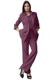 3-Piece Duster Pantsuit | Plus Size Pant suits | Roamans | My ...