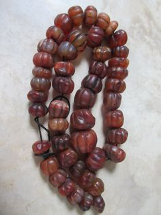 Large carnelian melon beads, likely 17th to 19th century