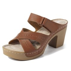 Adjustable Peep Toe Chunky Heel Backless Sandals is comfortable to wear. Shop on NewChic to see other cheap women sandals on sale. Gladiator Sandals, Leather Sandals, Shoes Sandals, Girls Sandals, Peep Toe, Uganda, Georgia, Sandals For Sale, Comfortable Sandals