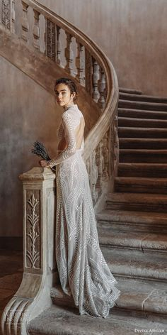 divine atelier 2020 bridal long sleeves high neckline fully embellished lace soft modified a line wedding dress slit skirt keyhole back sweep train bv -- Divine Atelier 2020 Wedding Dresses Boho Chic Wedding Dress, Wedding Dress Accessories, Bridal Dresses, Wedding Gowns, Bridesmaid Dresses, Fit And Flair, Divine Atelier, Gowns Of Elegance, Elegant