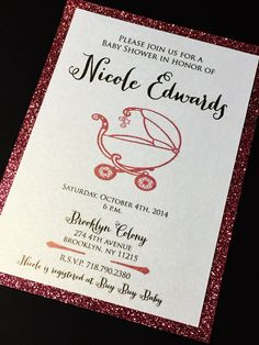 Glitter Baby Shower Invitations, Elegant Baby Shower Invite NICOLE CARRIAGE - Set of 25