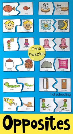 FREE printable puzzles to teach preschoolers about antonyms and opposites. - FREE printable puzzles to teach preschoolers about antonyms and opposites. Includes 12 self-correcting puzzles with visual cues to find the matching pair of antonyms. Preschool Learning Activities, Free Preschool, Preschool Printables, Preschool Classroom, Preschool Worksheets, Teaching Kids, Preschool Puzzles, Classroom Games, Preschool Crafts