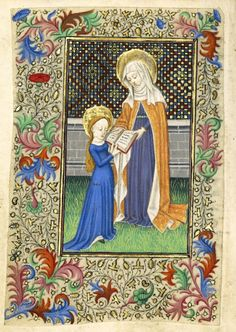 """""""Saint Anne Teaching the Virgin to Read,"""" about Master of Sir John Fastolf (French, active before about tempera colors, gold leaf and ink on parchment, by inches leaf. Medieval World, Medieval Art, Medieval Times, Simple Canvas Paintings, Great Paintings, Medieval Manuscript, Illuminated Manuscript, Archaeology News, Getty Museum"""