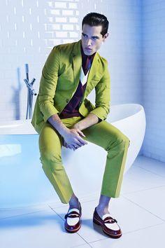 Fabio Mancini by Dirk Lambrecht for FD Magazine...mens pistachio green suit