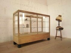 Glass Case T431アンティーク古い木枠のガラスケース検飾り棚店舗什器 インテリア 雑貨 家具 Antique ¥45000yen 〆07月04日