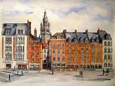 lieux et paysages remarquables. Aquarelle de Philippe WALENNE.Lille La Grand'Place et le Beffroi de la Chambre de Commerce.