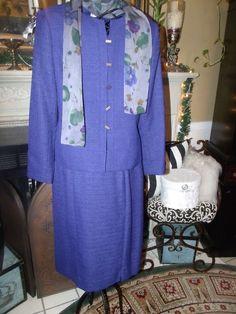 Le Suit Petite Blueberry 2PC Business/Career Skirt Suit With Scarf SZ 4P  #LeSuit #SkirtSuit
