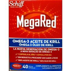MegaRed 40 Cápsulas. Omega-3 con 100% aceite puro de krill contiene 500 mg de aceite extraído exclusivamente del krill del Antártico. Rico en los ácidos grasos esenciales omega-3, conocidos por sus propiedades cardio-saludables en las cantidades recomendadas. MegaRed® se absorbe facilmente. Además, son pequeñas y fáciles de tragar. Se recomienda tomar entre 1 y 3 cápsulas diarias con un vaso de agua. Para encontrarlo a un gran precio, os invitamos a pasar por, www.farmatendencias.com